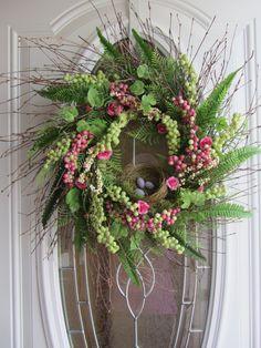 springeast wreath, craft, decorating wreaths, front door wreaths, front doors, bird nests, easter wreaths, spring wreaths, birds