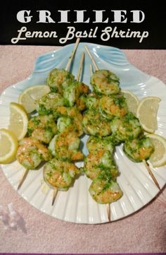 Grilled Lemon Pesto Shrimp Skewers are the easiest and tastiest of shrimp recipes perfect for grilling season.