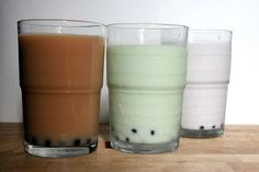 Bubble (boba) tea ! This site shows recipe for milk tea, green tea, and purple yam boba drinks. Can't wait to make some :).