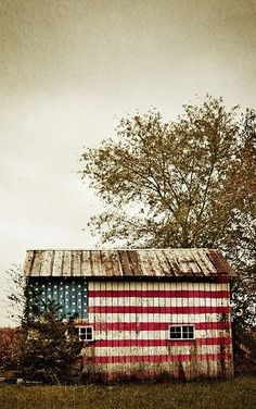 Barn With USA Flag