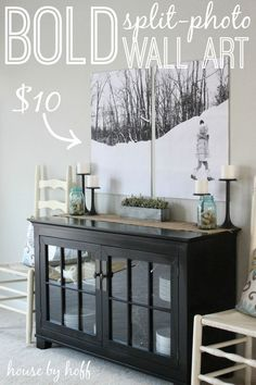Bold Split Photo Wall Art for $10 via housebyhoff.com - love this cabinet and the artwork too