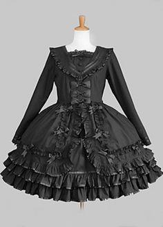 Long Sleeve Knee-length Black Cotton Aristocrat Lolita Dress with Bow