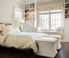 mixing patterns, small bedrooms, color, cabinet, bookcas, master bedrooms, shelv, bedroom windows, window seats