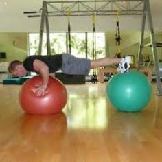 Double Stability Ball Push Ups