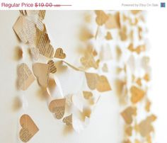 Christmas in July Sale Paper Heart Garland from Vintage Book, rehersal dinner, romantic home decor, 20 feet long, custom lengths, wedding d. $17.10, via Etsy.