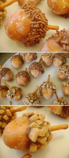 Thanksgiving -Start with donut holes, dip in Nutella, toffee bits, nuts,  and add a stick pretzel. Cute breakfast treat for fall
