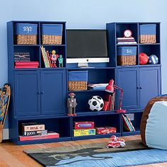 He  loves to read, so having a book shelf is a no-brainer!