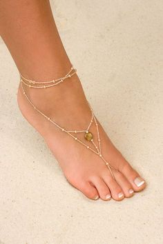 put a purple bead in the middle...perfect beaches, foot jewelri, wedding shoes, wedding ideas, summer shoes, wedding heels, beach weddings, sandal, anklets
