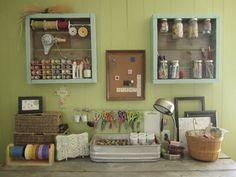 craft station, crafti corner, old crates, storage ideas, craft storage