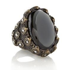 """FERN FINDS: Hematite-Color Stone Oval """"Antique"""" Ring at HSN.com."""