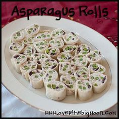 color appet, appit, pin wheels appetizers, yummi, asparagus appetizer recipes, asparagus roll, parti food, rolls, appetizers for a party