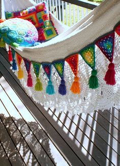 Granny Bunting with Tassels...Cute! granni bunt, photograph, triangles, color, hammocks, crochet, buntings, tassel, spot
