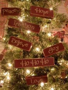 Wooden Block Christmas Ornaments - cute!