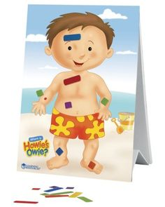 "Help your toddler master body part names by placing magnetic bandages on ""Howie's Owie."" Click above to buy this educational game."