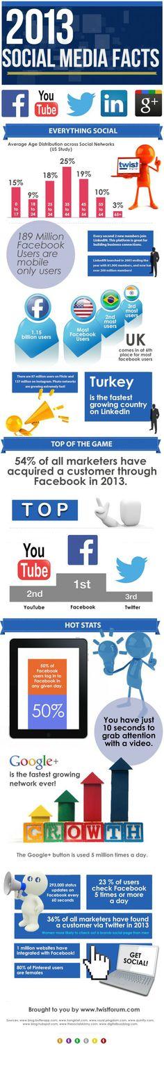 2013 Social Media Facts #infografia #infographic #socialmedia