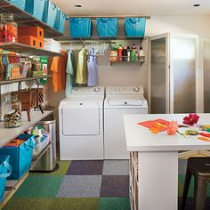 Colorful containers and modular shelving hold laundry room necessities and more. You can also displays collectibles to add fun and life to a room that is normally neglected.