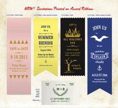 Save the Date Ribbons.  How fun! invitations, idea, dates, ribbon invit, ribbons, paper goods, blues, parti, award ribbon