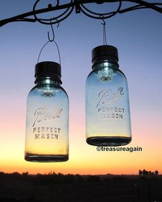 Half Gallon Mason Jar Solar Lights 2 Ball Antique Blue Mason Jars with lights by treasureagain  http://etsy.me/II2qhI