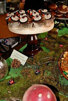 our owl cupcakes....pinterest inspired via karaspartyideas.blogspot.com, pine cones as card holders, moss covered table.