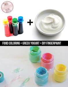 Make edible finger paint (yum!) for your kids to play with!   27 Insanely Easy Two-Ingredient DIYs