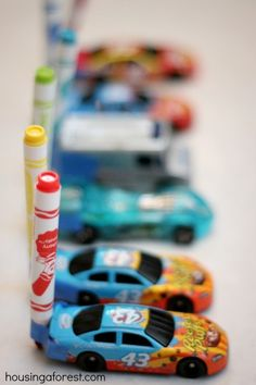 Art activity for kids who love toy cars :: Drawing with Cars.