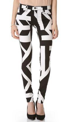 B & W Print Skinny Jeans