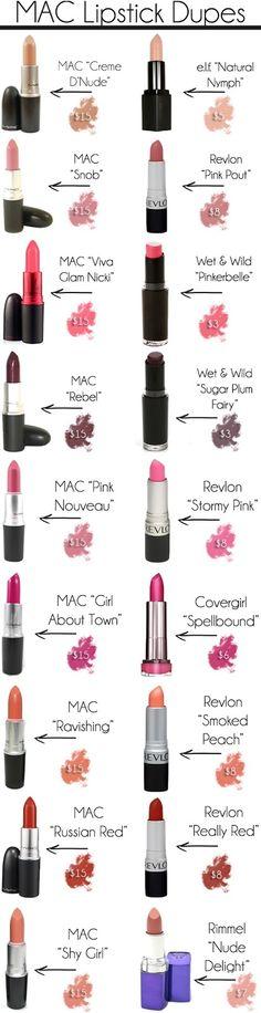 lipstick dupe, maclipsticks, makeup, mac dupes, mac lipsticks, beauti, beauty, shade, lipstick colors