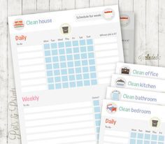 Cleaning schedule Cute weekly cleaning checklist by PotsPrints