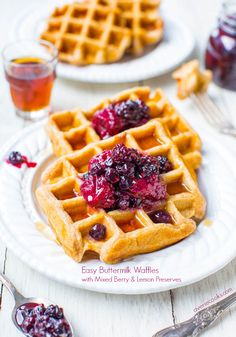 Easy Buttermilk Waffles with Mixed Berry & Lemon Preserves - As fast and easy as using boxed pancake mix, but so much better! Crispy on the outside and soft & fluffy inside!