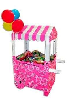 El Carrito de las chuches patra cumpleaños de niñas Carritos de cartón para chuches... ¡Una nota original para tus fiestas infantiles!