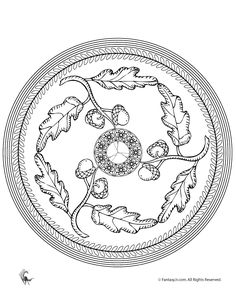 Fall Mandala Coloring Pages for Kids and Adults Fall Acorn Mandala Coloring Page – Fantasy Jr.