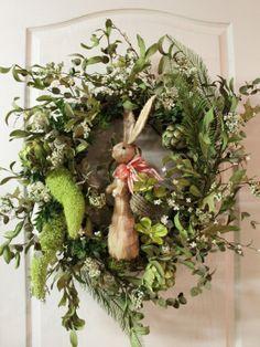 FREE SHIPPING -- Elegant Easter Wreath with Easter Rabbit / Artichokes / White Flowers. $110.00, via Etsy.