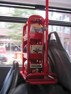 A mini library on the bus: In Hamburg in Germany they have bookshelves in the bus and people can take a book and read while going somewhere. Smart idea.
