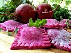 Beetroot Ravioli With A Kale Ricotta Filling
