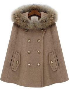 Camel Fur Hooded Double Breasted Pockets Cape Coat - Sheinside.com