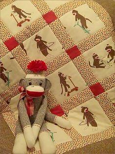 Monkey N Round Crib Quilt for Baby Boy or Girl, via Etsy.
