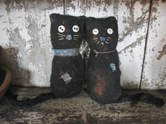 Calico Sock Cats-sock cat, black sock cat, handmade, handmade sock cat, primitive, primitive sock cat, handmade primitive doll, primitive doll, handmade doll, stuffed doll, needfuls, primitive decor
