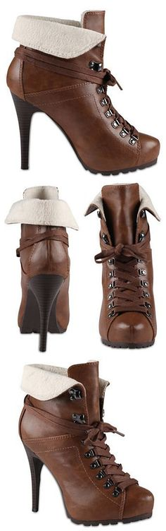 Cognac Fold-Over Cuff Lace-Up Booties <3
