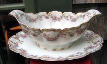 Antique Haviland Limoges Gravy Schleiger 270 Rose Garlands