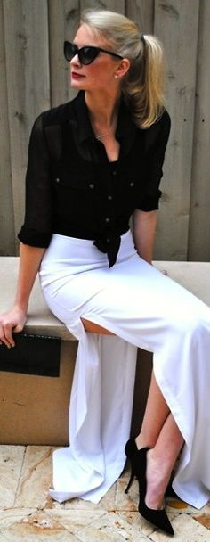 .black and white maxi skirt