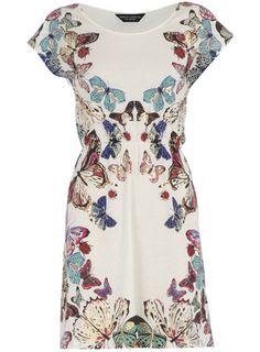 cream butterfly print dress, dorothy perkins.