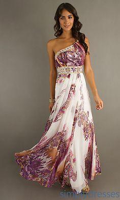 print dress, shoulder print, gown, purpl print