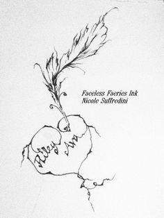 pen heart, ink pen, tattoo art, heart tattoos, feather ink