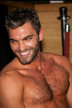 hairy chest and beard, beautiful smile