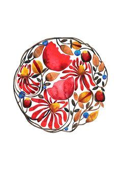 Flower Mandala / Watercolor illustration