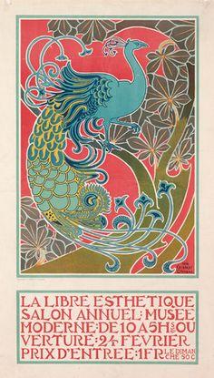 ジズベール・コンバス   ポスター《自由美学》 1898年   イクセル美術館 ©Mixed Media