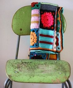 Vintage chair with crochet