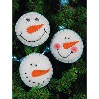 dIY ornaments christmas snowmen felt
