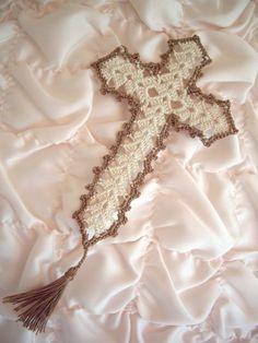 delicate, crocheted cross bookmark