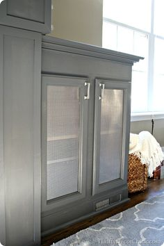 replace glass with metal screen for electronics in living room